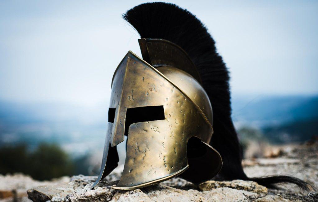 Casco de un guerrero espartano