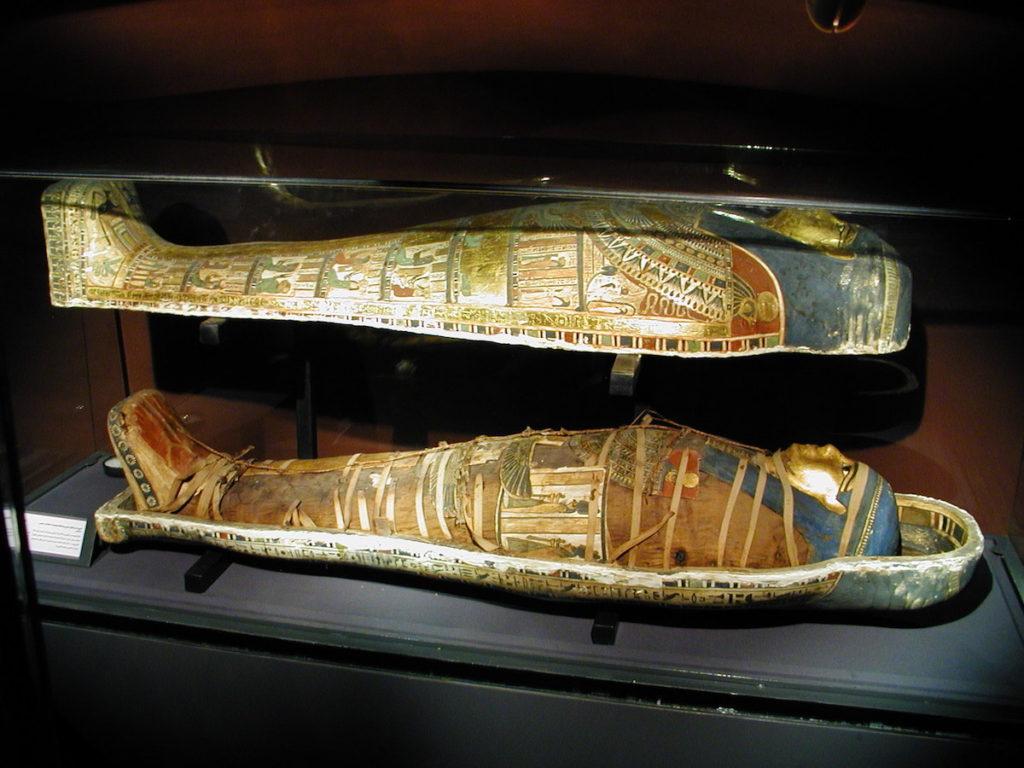 momia egipcia en su sarcófago